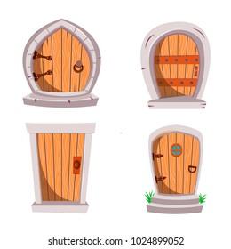 Set of cartoon fairy-tale wooden doors. Magical fantasy doors from wood