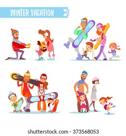 445ffc899 Set of cartoon families with various winter activities:people with  snowboards,skies,figure