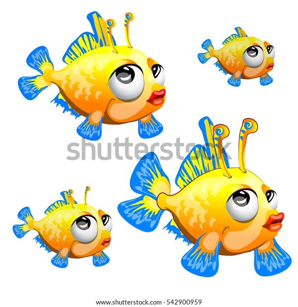 Set of cartoon fancy fish isolated on a white background. Vector illustration.