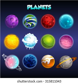 Set of cartoon fantastic planets