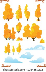 Set of cartoon fantasy shape trees  with cloud