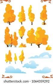 Set of cartoon fantasy shape trees  with cloud