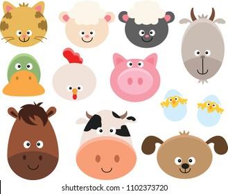 Set of Cartoon Farm Animal Faces Clipart.