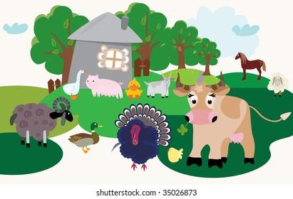 Set of cartoon farm animals
