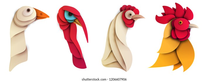 Set of cartoon farm bird in trendy paper cut craft graphic style. Goose, rooster, chicken,turkey. Modern design for advertising, branding greeting card, cover, poster, banner. Vector illustration.
