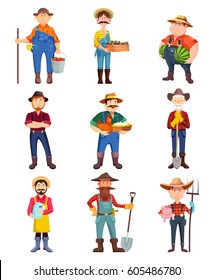 Set of cartoon farmer, man with watermelon and holding plum, worker in hat with shovel and pig, milk can and hen with eggs. Harvest and food, agriculture and redneck, village farm theme