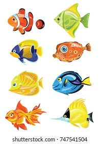Set of cartoon fish. Collection of cute colored fish. Marine residents. Vector illustration for children.