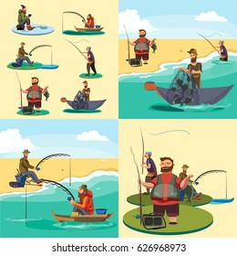 Set of cartoon fisherman catches fish sitting boat fisher threw rod into water, happy fishman holds catch and spin, man pulls net out of the river, fishing on ice icon vector illustration
