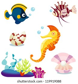 Set of the  cartoon fishes