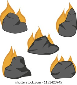 Set of cartoon flaming rocks suitable for an underworld.