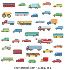 Set Of Cartoon Flat Design Car, Bus and Truck Icons. Isolated Vector Illustration