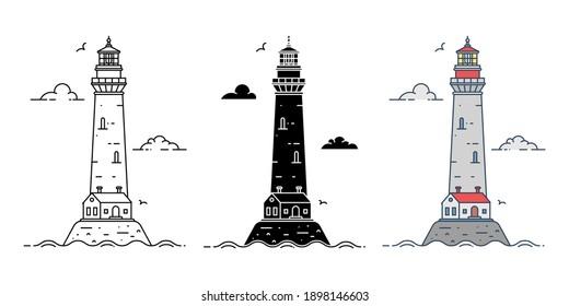 Set of cartoon flat lighthouses in three variations. Vector illustration