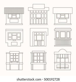 Set of cartoon flat stalls and kiosks isolated on white background. Front. Tobacconist, pawnshop, bookshop. Small business. Outdoor. Vector illustration. EPS 10.