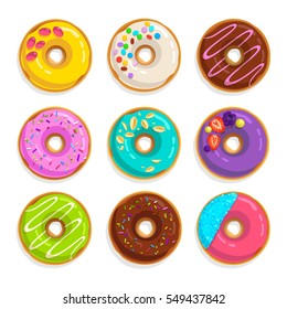 Set of cartoon flat style juicy colorful vector donuts isolated on white background. Top View Doughnuts collection into glaze for menu design, cafe decoration, delivery box (set 1)