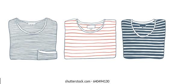 Set of cartoon folded striped t-shirts. Fashion hand drawn vector illustration