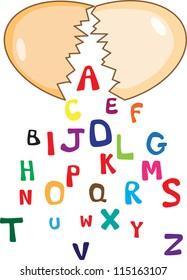 A set of cartoon font type, A to Z