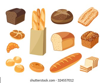 Set of cartoon food: ciabatta, whole grain bread, bagel, french baguette, croissant and so. Vector illustration, isolated on white, eps 10.