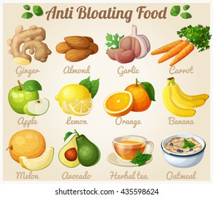 Set of cartoon food icons. Anti bloating food. Ginger, almond, garlic, carrot, apple, lemon, orange, banana, melon, avocado, tea, oatmeal