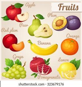 Set of cartoon food icons. Fruits. Red apple, pear, violet plum, red plum, banana, orange, grape, pomegranate, lemon