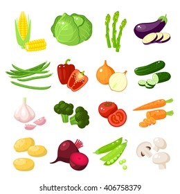 Set of cartoon food: vegetables - corn, cabbage, asparagus, eggplant, carrot, bell pepper, onion, cucumber, garlic, broccoli, tomato, mushroom, potato and so. Vector illustration, isolated on white.