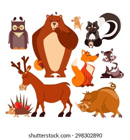 Set of cartoon forest animals as icons or design elements. Bear, wild pig, skunk,fox,owl,reindeer,hedgehog,mouse. Vector illustration isolated on white background