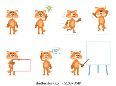 Set of cartoon fox characters posing in different situations. Cheerful fox pointing up, running, jumping, talking on phone, holding banner, pointing to whiteboard. Flat vector illustration