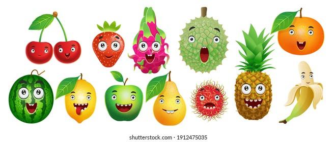 Set of cartoon fruits for kids.Cherry, strawberry, dragon fruit, durian, orange, watermelon, lemon, apple, pear, rambutan, pineapple, banana.Vector.
