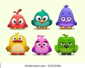 Set of cartoon funny birds
