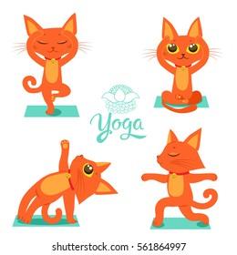 Set Cartoon Funny Cats Icons Doing Yoga Position.Cat Yoga Funny Vector. Yoga pose vector. T-shirt print design.