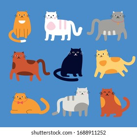 Set of cartoon funny cats, vector illustration.