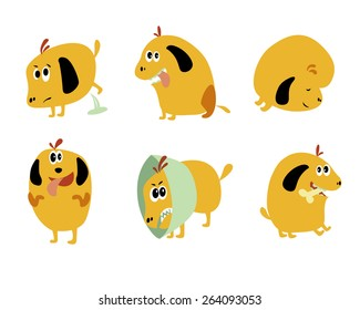 Set of cartoon funny dogs, puppy elements like stickers. Vector illustration. Isolated