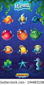 Set of cartoon funny fish in underwater world background. Marine Life Landscape with different inhabitants. For design websites and mobile phones, printing.