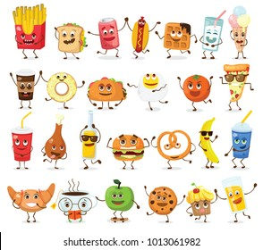Set of cartoon funny friends -  fast food and fruits in flat style