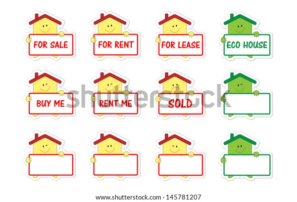 Set Cartoon Funny Houses Real Estate Stock Vector (Royalty