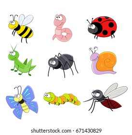 Set of cartoon funny insects. Vector illustration. Bee, worm, snail. Butterfly, caterpillar, spider, mosquito,  ladybug.