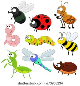 Set of cartoon funny insects. Vector illustration. Bee, worm, fly. Ant, caterpillar, mantis, rhinoceros beetle,  ladybug.