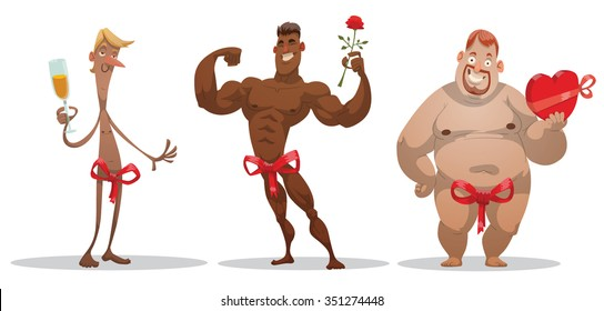 Set of cartoon funny people who giving themselves on a holiday like a gift. Black strong man with rose. Thin white man with glass of champagne. Fat white man with chocolate. vector illustrations