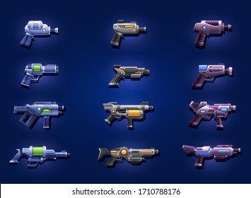 Set of cartoon futuristic space blasters. Weapon for Space game design. Vector illustration.