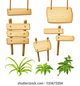 Set cartoon game panels in jungle style with space for text. Isolated wooden gui elements with tropical plants and boards. Vector illustration on white background.