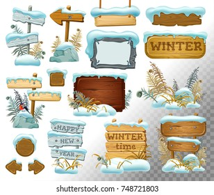 Set cartoon game wooden panels in the snow with leaves. Boards in  snow cap. Isolated vector illustration.