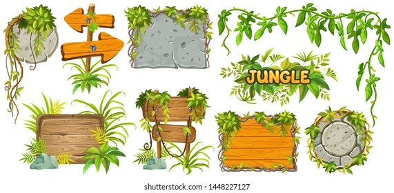 Set cartoon game wooden and stone panels in jungle style with space for text. Isolated gui elements with tropical lianas, rocks and boards. Vector illustration on white background.