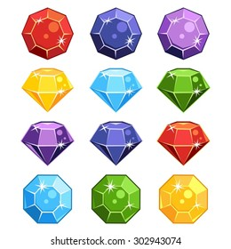 Set of cartoon gem stones in different colors and shapes for a game
