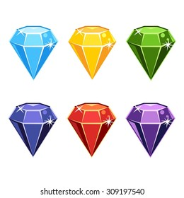 Set of cartoon gemstones in different colors