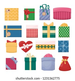 Set of cartoon gift boxes with bows and ribbons. Colourfull present. Vector illustration