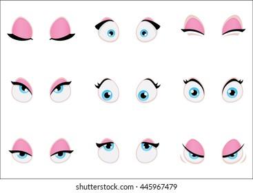 Set of cartoon girl eyes isolated on wight background. Vector illustration.