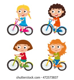 Set of cartoon girls riding a bike having fun riding bicycles isolated on white. Happy kids having fun on weekend. Vector character design on kids used for child books, stickers, posters, web pages.