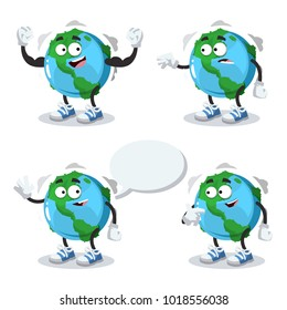 set of cartoon globe mascot on white background