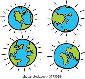 set of cartoon globes isolated on a white background.