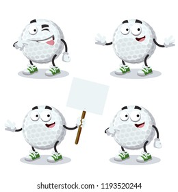 set of cartoon golf ball character mascot on white background