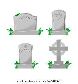 Set of cartoon grave. Vector illustration.